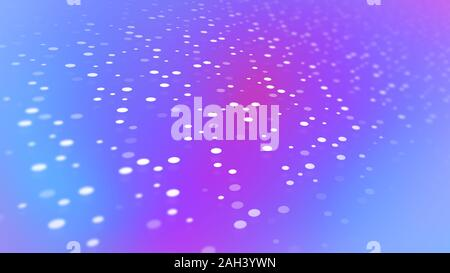 White dot pattern with diminishing perspective on a soft blue and purple color gradient background in 4k resolution. Stock Photo