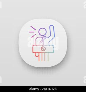 Protester speech app icon. Political protest. Political or social movement participant. Protest leader. Person shouting slogans. UI/UX user interface. - Stock Photo