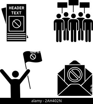 Protest action glyph icons set. Protester, meeting, protest email, leaflet. Silhouette symbols. Vector isolated illustration - Stock Photo