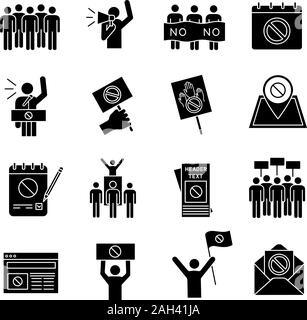 Protest action glyph icons set. Mass demonstrations. Political behaviour. Social and political movements. Democracy and human rights protection. Silho - Stock Photo