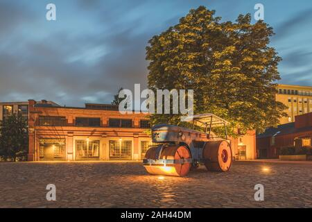 Germany, Hamburg, Barmbek, Hamburg Museum of Work exterior at dusk - Stock Photo