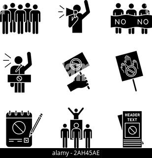 Protest action glyph icons set. Meeting, protester, picket, speech, banner, protest placard, petition, leader, leaflet. Silhouette symbols. Vector iso - Stock Photo