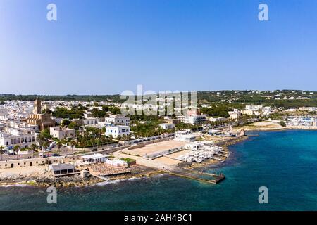 Italy, Apulia, Salento peninsula, Lecce province, Aerial view of Santa Maria di Leuca with harbor - Stock Photo