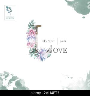 Stylish floral card. Love word made of flowers, birds and leafs. Wedding invitation design.  cute background. Valentines day postcard - Stock Photo