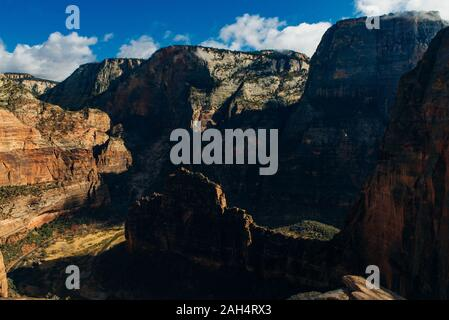 A stunning view of Zion Canyon from Observation Point, from which the famous Angles Landing is also visible - Stock Photo