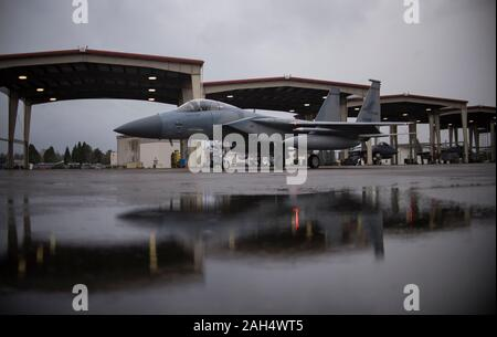 An F-15 Eagle from the 142nd Fighter Wing taxis the flight line on a rainy winter morning, Portland Air National Guard Base, Ore., December 20, 2019. (U.S. Air National Guard photo by Tech. Sgt. Steph Sawyer, 142nd Fighter Wing Public Affairs) - Stock Photo