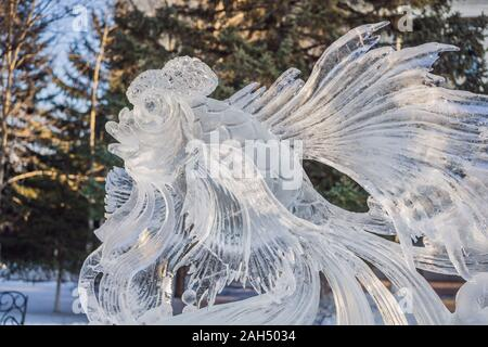 Ice statue made of ice on a frosty winter day - Stock Photo