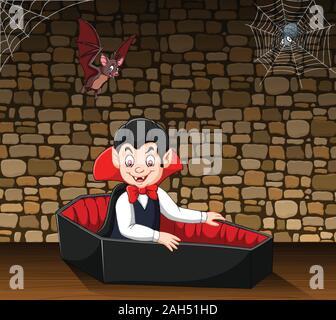 Cartoon happy vampire in his coffin - Stock Photo