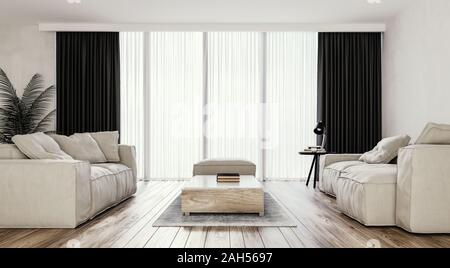Modern interior design of bright living room with Italian style furniture and big sliding doors and windows, mock-up, backdrop, 3d rendering - Stock Photo