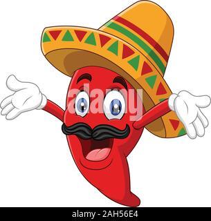 Cartoon happy sombrero chili pepper - Stock Photo
