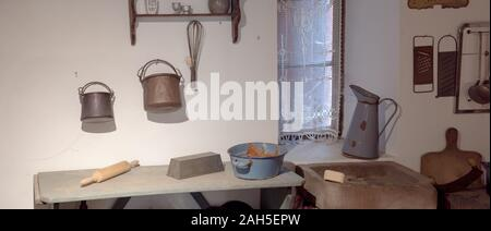 Ungersheim, Haut-Rhin / France - 13. December, 2019: interior view of a 19th century kitchen in a historic Alsatian country house - Stock Photo