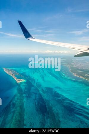 Aerial view from the Caribbean coast - Stock Photo