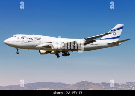 Barcelona, Spain - April 10, 2017: El Al Boeing 747 airplane at Barcelona airport (BCN) in Spain. Boeing is an aircraft manufacturer based in Seattle, - Stock Photo