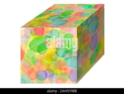 Watercolor 3D cube with a symphony of colors isolated on white background. Web site, template design or backdrop. Digital abstract illustration artwor - Stock Photo