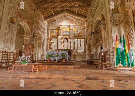 Jesuit Templo or Church of San Javier or San Xavier  Jesuit Mission, Jesuit Circuit, Unesco World Heritage, Esastern Lowlands, Bolovia, Latin America - Stock Photo