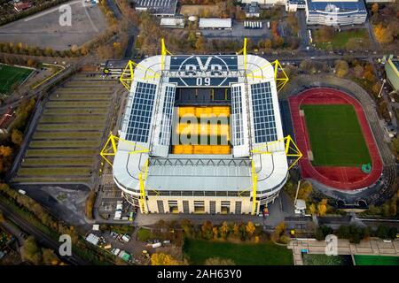 Aerial photo, Signal Iduna Park, BVB09 Stadium Borussia Dortmund, Dortmund, Ruhr Area, North Rhine-Westphalia, Germany, DE, Europe, birds-eyes view, a