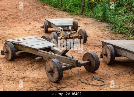 The car made from wood, children's toys on the mountain at Windtime Khao kho , Phetchabun in Thailand. - Stock Photo