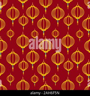 lantern line seamless pattern for  chinese new year concept vector illustration background - Stock Photo