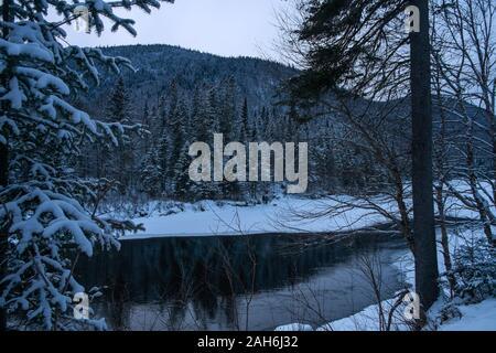 Snowy landscape, Parc National de la Jacques-Cartier, Quebec, Canada - Stock Photo