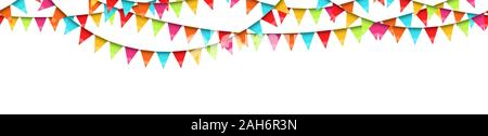 vector illustration of seamless colored garlands on white background for party or carnival usage - Stock Photo