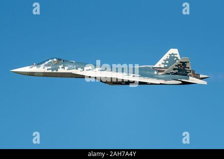 The Sukhoi Su-57 stealth fighter jet of the Russian Air Force at the MAKS 2019 airshow. - Stock Photo
