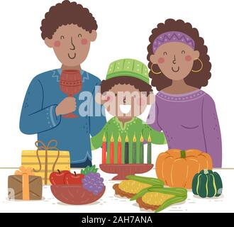 Illustration of a Kid Boy with His Family Celebrating Kwanzaa with Food, Candles and Gifts - Stock Photo
