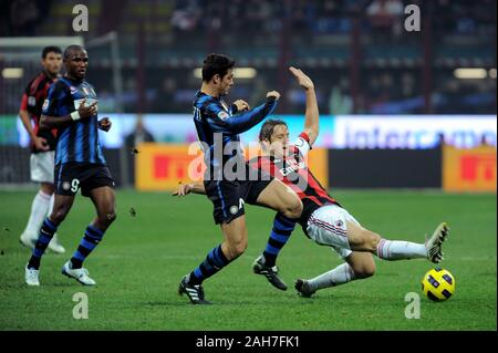 Milan  Italy,15 November 2010,  SAN SIRO Stadium, Soccer Seria A 2010/2011,FC Inter - AC Milan: Javier Zanetti and Massimo Ambrosini - Stock Photo
