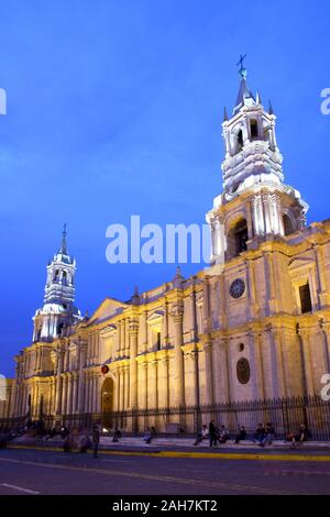 Arequipa, Peru - View of the Cathedral at main square, Plaza de Armas - Stock Photo