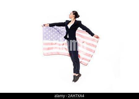 attractive businesswoman dancing while holding united states national flag isolated on white - Stock Photo
