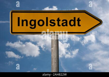 Detail photo of a signpost with the inscription Ingolstadt, Bavaria, Germany, Europe - Stock Photo