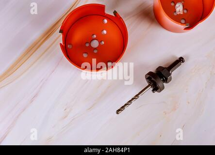 Saws for making holes in wood using a duty drill bits - Stock Photo