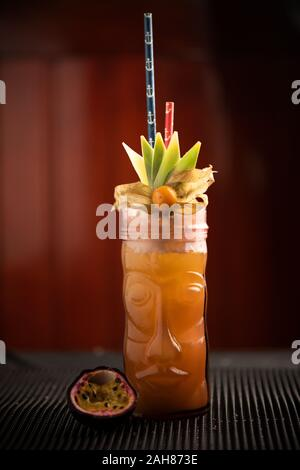 Freshly home made cocktails for the party in a bar close up - Stock Photo