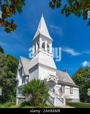 Historic 19th century New Church in Yarmouth Port, Cape Cod, Massachusetts, USA - Stock Photo