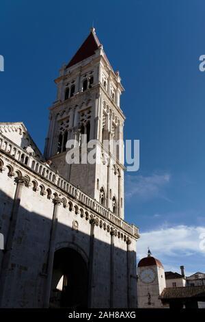 Cathedral of St Lawrence in John Paul II Square, Trogir, UNESCO, Dalmatia, Croatia, Europe - Stock Photo