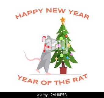 Adorable rat decorating fir tree illustration. Cute mouse preparing for New Year cartoon character isolated on white background. Festive greeting card, poster design with 2020 year symbol - Stock Photo