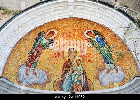 Mosaic depicting the Virgin Mary with the baby Jesus - Stock Photo