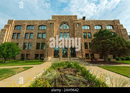 Laramie, Wyoming - July 25, 2014: The Main Entrance to the Albany County Courthouse - Stock Photo