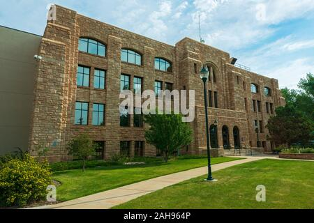Laramie, Wyoming - July 25, 2014: The Albany County Courthouse is a Flagstone Structure - Stock Photo