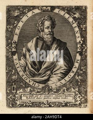 Clement Marot, French Renaissance poet 1496-1544. Clemens Marotus Chaorsius Poeta. Copperplate engraving by Johann Theodore de Bry from Jean-Jacques Boissard's Bibliotheca Chalcographica, Johann Ammonius, Frankfurt, 1650. - Stock Photo