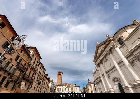 Downtown of the Bassano del Grappa, Piazza Libertà (Freedom square) with the church of San Giovanni Battista (St. John the Baptist), Veneto, Italy - Stock Photo