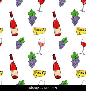 Wine set. Grapes, cheese and wine bottle. Hand drawn sketch. Seamless pattern - Stock Photo