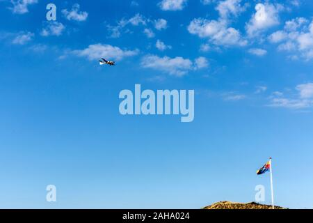 Himmel, Flugzeug, Duene, Fahne, Wenningstedt, Sylt - Stock Photo