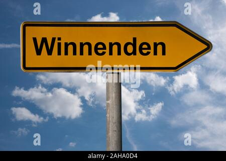 Detail photo of a signpost with the inscription Winnenden, Baden-Württemberg, Germany, Europe