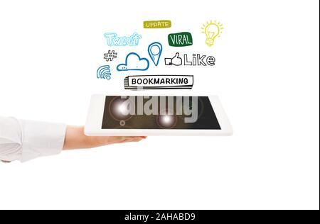 cropped view of woman holding digital tablet with social media icons above isolated on white