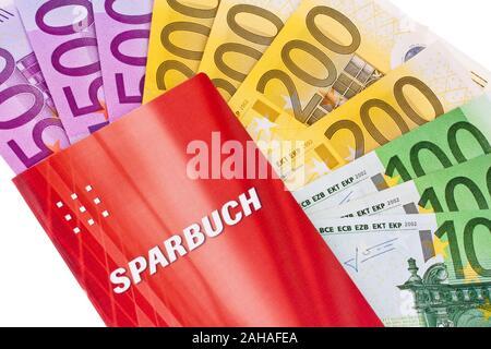 Sparbuch mit Euro Banknoten - Stock Photo