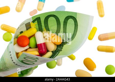 Verschiedene Tabletten, Kosten, Geld, Euro, Gesundheitswesen, Krankenhasse, Medizin, Pillen, - Stock Photo