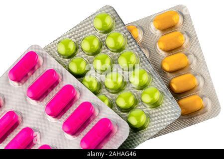 Verschiedene Tabletten, Kosten, Geld, Euro, US-Dollar,Gesundheitswesen, Krankenhasse, Medizin, Pillen, Blisterpackung, - Stock Photo