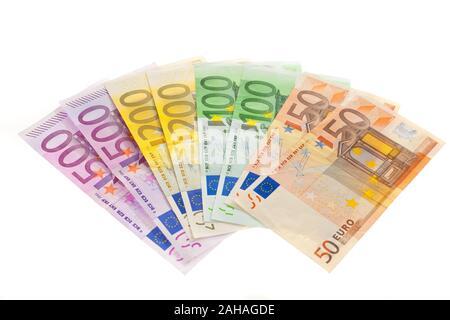 Viele verschiedene Euro Geldscheine, Symbolfoto für Reichtum und Geldanlage. - Stock Photo