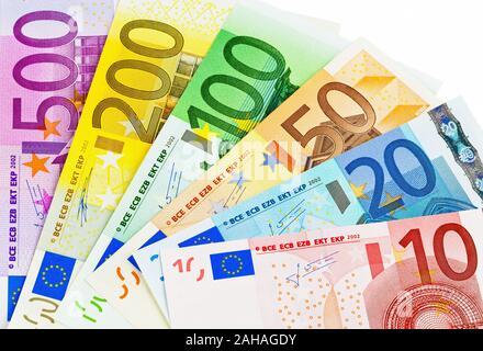 Viele verschiedene Euro-Banknoten, Symbolfoto für Reichtum und Geldanlage. - Stock Photo