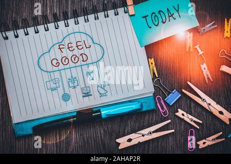 Text sign showing Feel Good. Business photo text relating to or promoting an often specious sense of satisfaction - Stock Photo